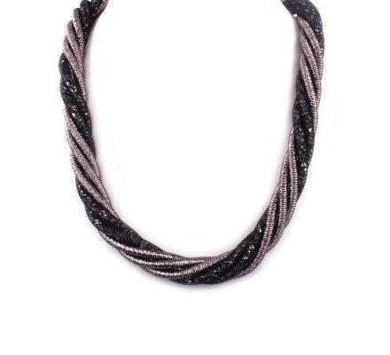 Collier Torsades perles et strass noir et gris