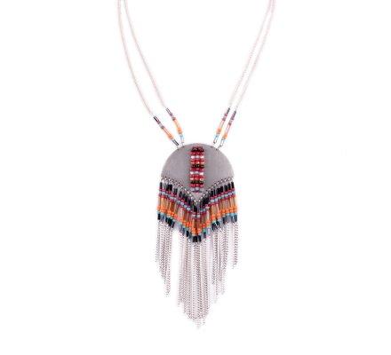 Collier LOL multicolore Arc de métal perlé et filaments argent et perles multicolores