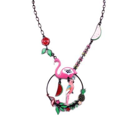 Collier LOL Flamant rose et perroquet sur couronne fleurie rose multicolore