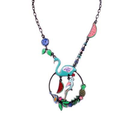 Collier LOL Flamant rose et perroquet sur couronne fleurie bleu multicolore