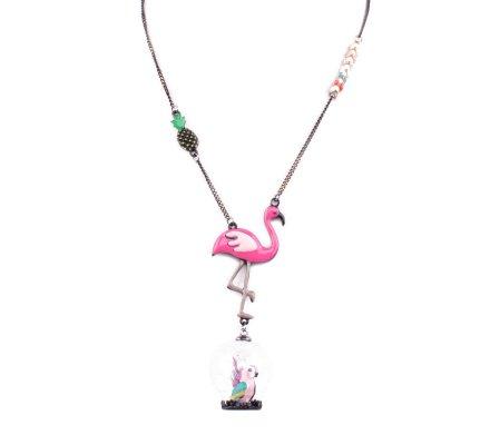 Collier LOL flamant rose et perroquet dans sa bulle de verre
