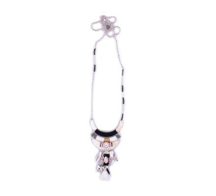 Sautoir LOL Arcs de nacre tissés à perles et pompons noir blanc rouge