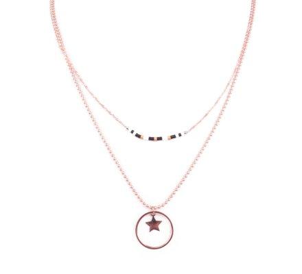 Collier acier MYLE MYLA étoile cerclée perles noires blanches
