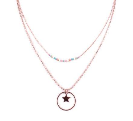 Collier acier rose gold MYLE MYLA étoile cerclée perles multicolores