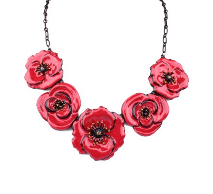 Collier coquelicots rouges