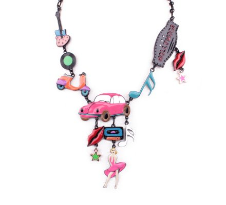 Collier LOL Marylin Hollywood voiture rose multicolore