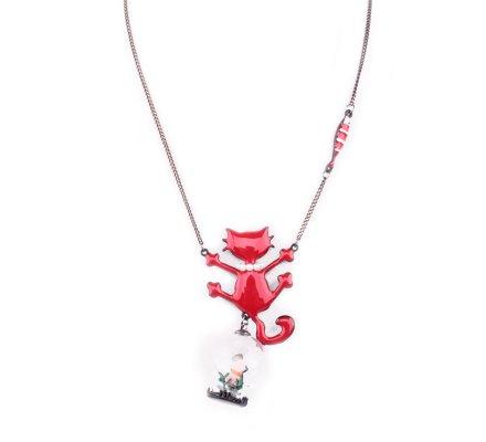 Collier LOL Chat rouge perlé et souris sous globe de verre