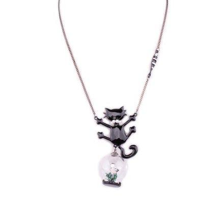 Collier LOL Chat noir perlé et souris sous globe de verre