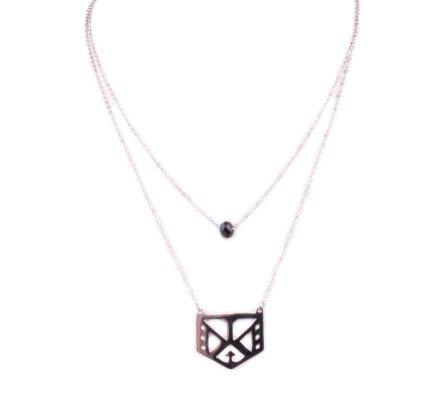 Collier acier double rang médaillon ethnique et perle noire acier argent