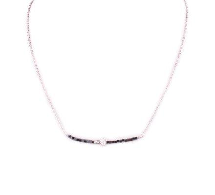 Collier acier argent perles grises et boule blanche strass