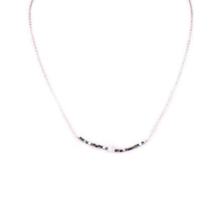 Collier acier argent perles vertes et boule blanche strass