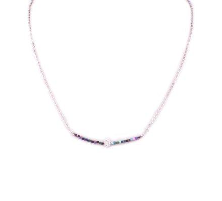 Collier acier argent perles multicolores et boule blanche strass