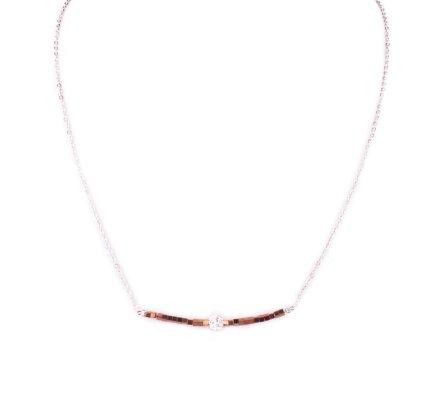 Collier acier argent perles cuivrées et boule blanche strass