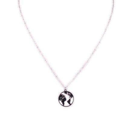 Collier MILE MILA Globe terrestre acier argent