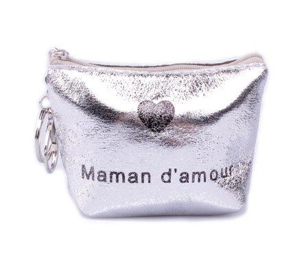 Porte monnaie Maman d'amour argent brillant