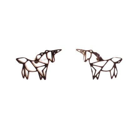 Boucles d'oreilles acier MILE MILA licorne graphique doré