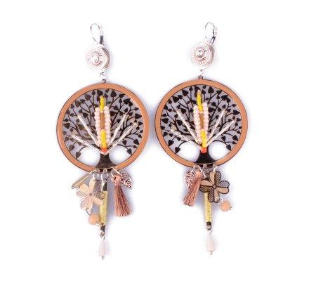 Boucles d'oreilles LOL jaunes roses et cuivrées arbre à vie perlé