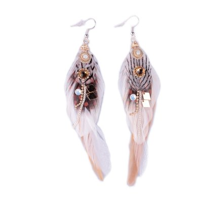 Boucles d'oreilles LOL plumes blanches et beiges à pois perles et strass