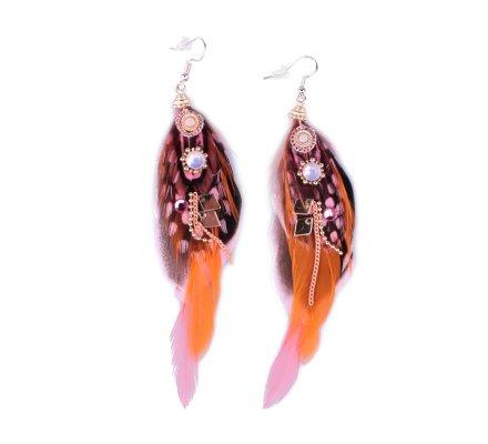 Boucles d'oreilles LOL plumes roses et noires à pois perles et strass