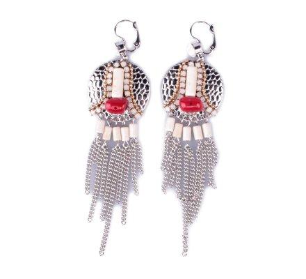 Boucles d'oreilles LOL Gongs à chaînettes et perles blanches et rouges