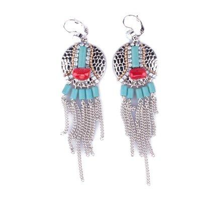 Boucles d'oreilles LOL Gongs à chaînettes et perles turquoises et rouges