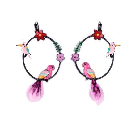 Boucles d'oreilles LOL perchoirs multicolores à perroquets plumes roses et noires