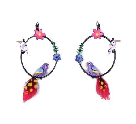Boucles d'oreilles LOL perchoirs multicolores à perroquets plumes rouges et jaunes
