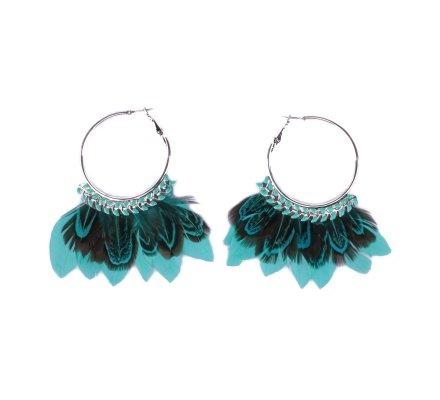 Boucles d'oreilles LOL turquoises et noires Anneaux laurier à plumes