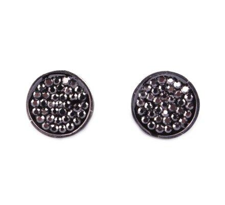 Boucles d'oreilles acier argent MYLE MYLA médaillon de strass gris anthracite
