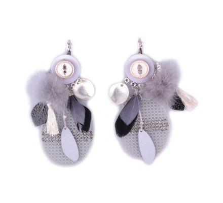Boucles d'oreilles LOL grises et noires Grillacha