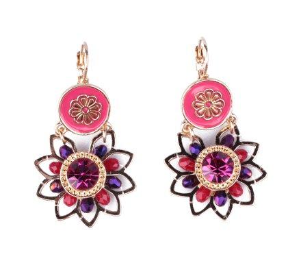 Boucles d'oreilles Lolilota fleurs dorées perles strass roses et prunes