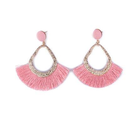 Boucles d'oreilles Lolilota Gouttes dorées à franges roses