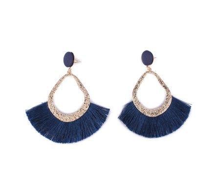 Boucles d'oreilles Lolilota Gouttes dorées à franges bleues marine