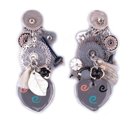 Boucles d'oreilles LOL à clips grises Coeurs à tourbillons et rosaces