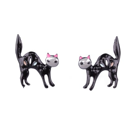 Boucles d'oreilles LOL petits chats apeurés noirs