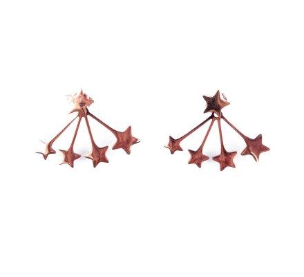 Boucles d'oreilles MILE MILA acier cuivré explosion d'étoiles
