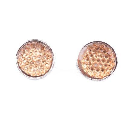 Boucles d'oreilles pastilles perles brillantes argent et jaunes