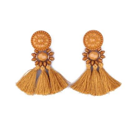 Boucles d'oreilles à pompons moutarde et dorées Perlipompon