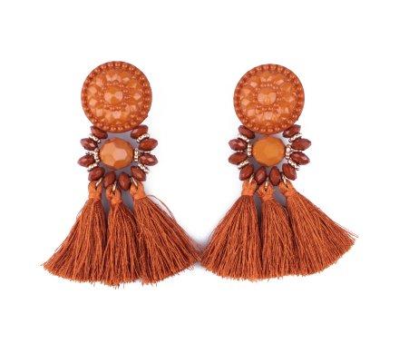 Boucles d'oreilles à pompons camel et dorées Perlipompon