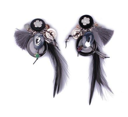 Boucles d'oreilles à clips LOL noires et grises Nualia