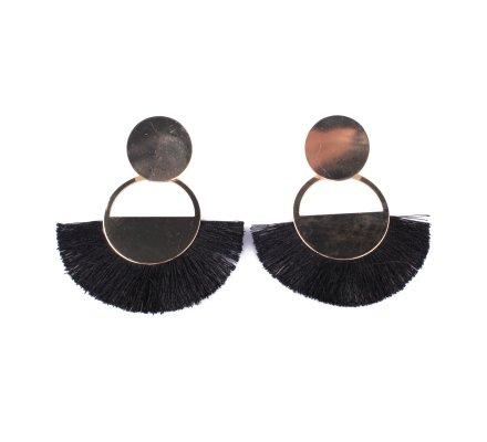 Boucles d'oreilles demi lune dorée à franges noires