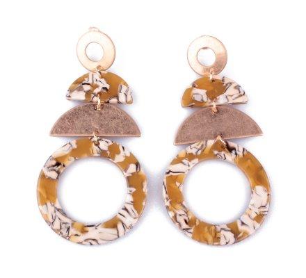 Boucles d'oreilles dorées et moutardes Obelio