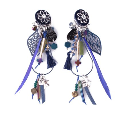 Boucles d'oreilles LOL à clips bleues Germinia