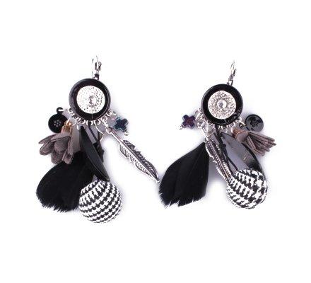 Boucles d'oreilles LOL noires et blanches Bouquet plumes fleurs et boules pied de poule