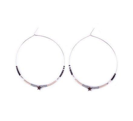 Boucles d'oreilles MILE MILA Anneaux acier argent perles noires grises et étoile argentée