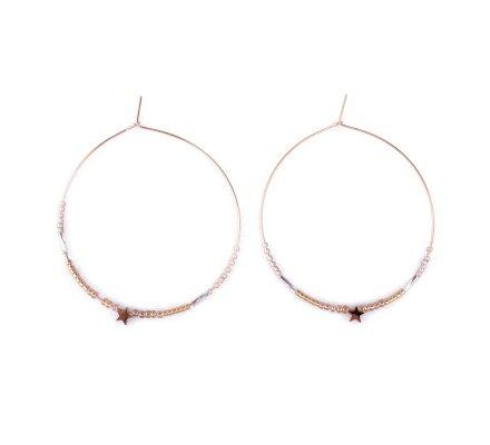 Boucles d'oreilles MILE MILA Anneaux acier doré perles et étoile dorées