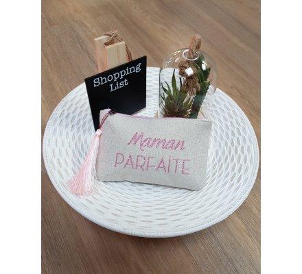 Pochette LOL beige pailletée Maman parfaite rose pâle et pompon
