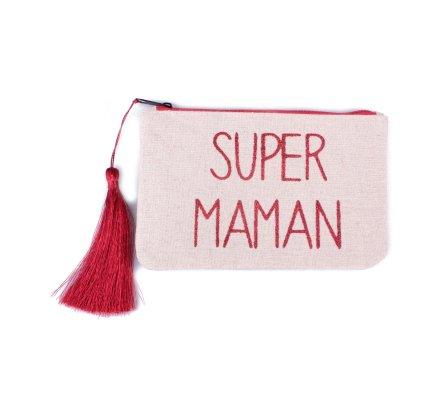 Petite pochette LOL beige pailletée Super Maman rouge et pompon