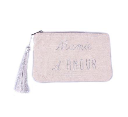 Petite pochette LOL beige pailletée Mamie d'amour argent et pompon