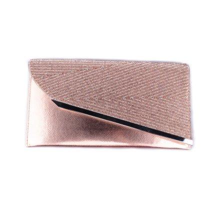 Pochette cuivrée revers asymétrique à strass